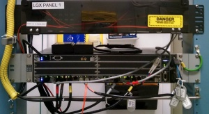 AUX rack with Router,  Fiber LGX Panel and Power Distribution Panel